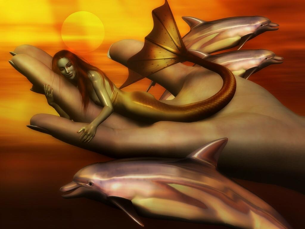 イルカと人魚 壁紙 - Mermaid WALLPAPER