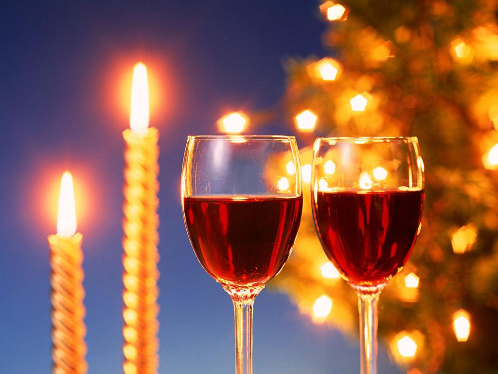 キャンドルワインパーティー 壁紙 - Wine and Candlelight WALLPAPER