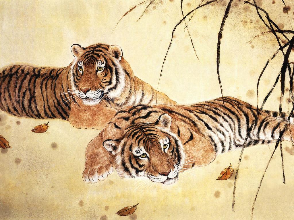 虎の絵画 壁紙 - Painting of Tigers WALLPAP...  壁紙は縮小表