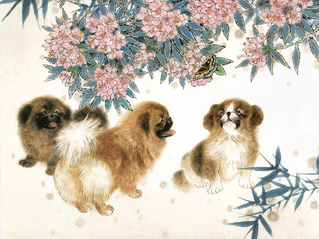 犬の絵画 壁紙 - Painting of Dogs WALLPAPER
