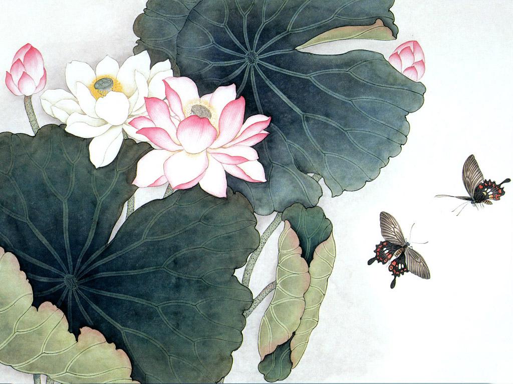蓮と黒アゲハ 壁紙 - Lotus and Swallowtail WALLPAPER