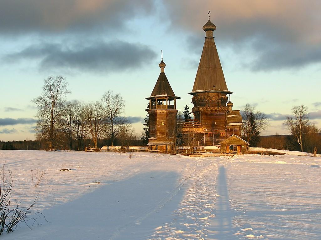 キジー島の木造教会(ロシア) 壁紙 - Kizhi, Russia WALLPAPER