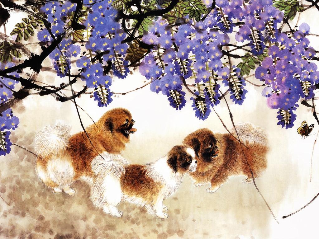 犬の水彩画 壁紙 - Watercolour Painting WALLPAPER