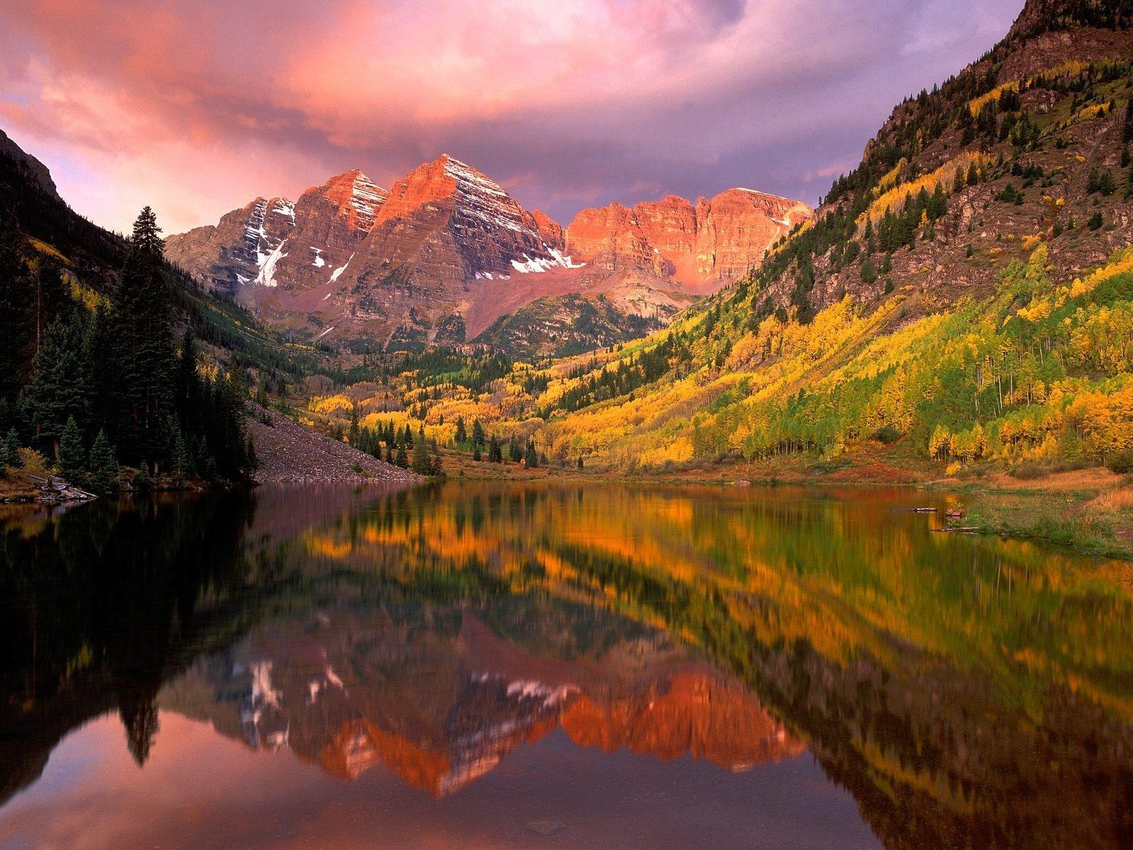 マルーン・ベルズ(アメリカ) 壁紙 - Maroon Bells, Aspen, Colorado, US WALLPAPER