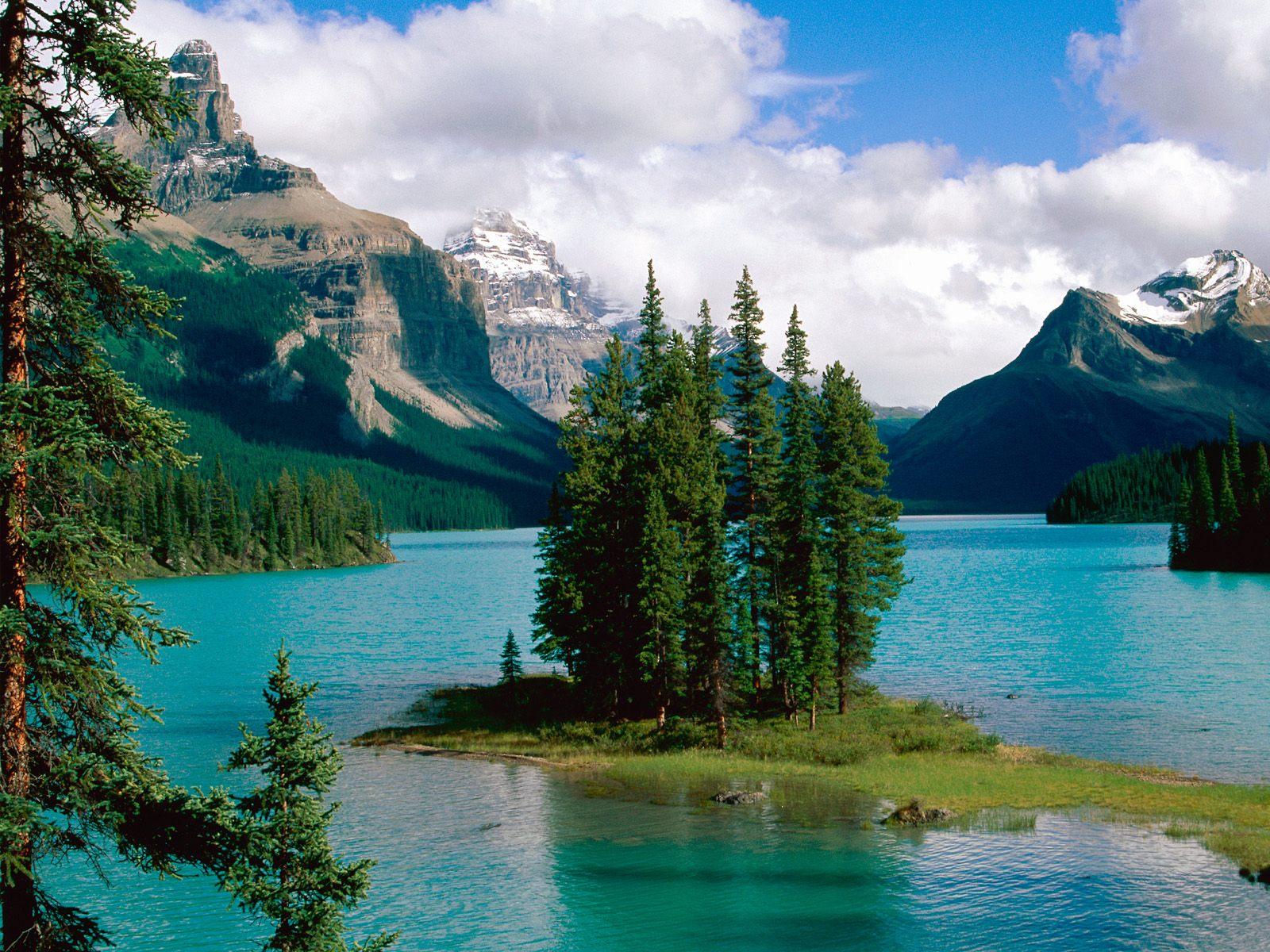 ジャスパー国立公園 マリーン湖 壁紙 - Maligne Lake, Jasper National Park, Alberta, Canada WALLPAPER